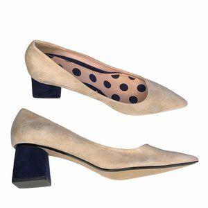 Zara Pointed Toe Block Heels Cream & Blue